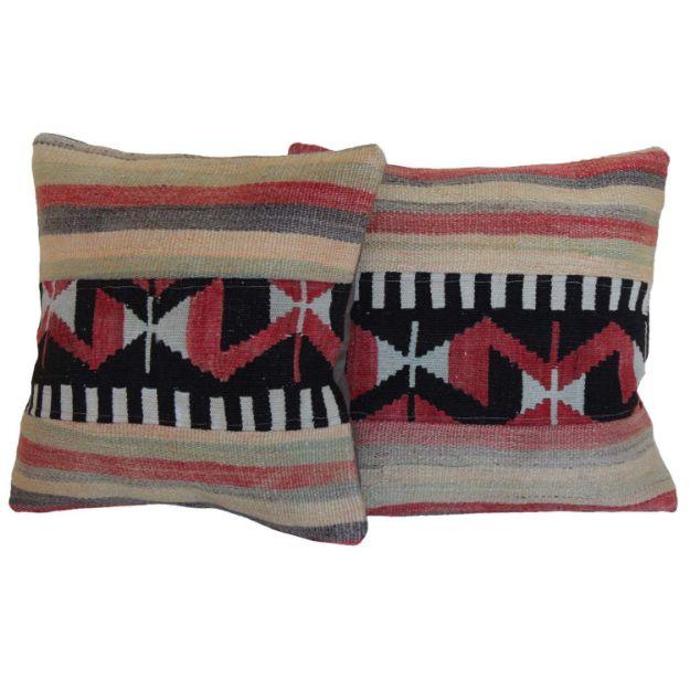 antique-turkish-kilim-rug-pillows-a-pair 1
