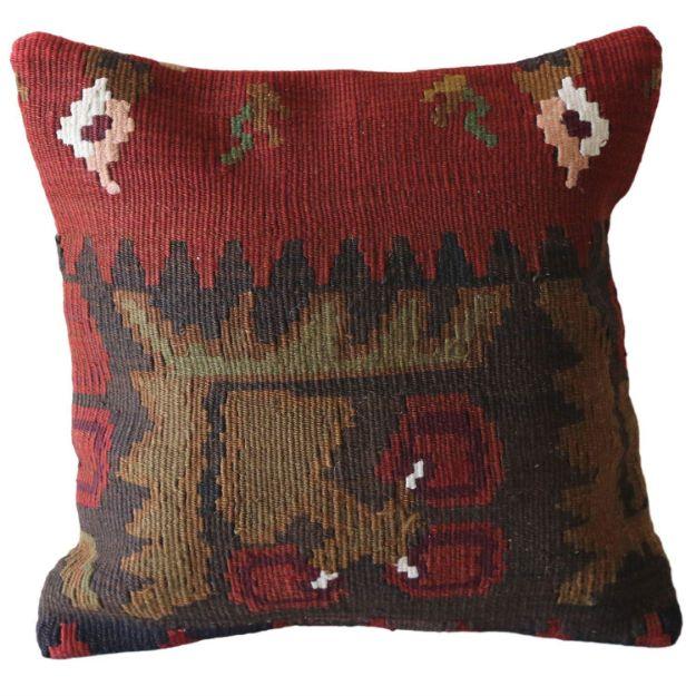 Bohemian-Bold-Red-Wool-Kilim-Pillow 1