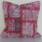 Handmade-Patchwork-Pink-Rug-Pillow 2