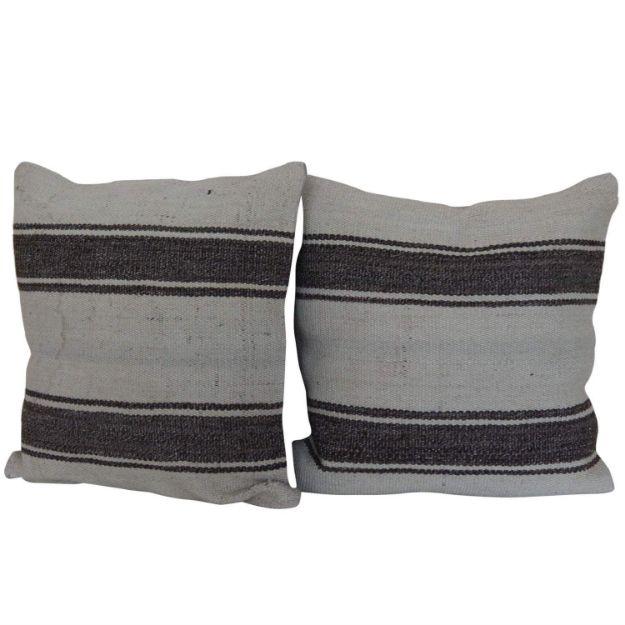 Simple-Striped-Kilim-Pillows A Pair 1