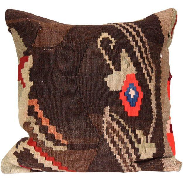 Vintage-Brown-Throw-Kilim-Pillow 1