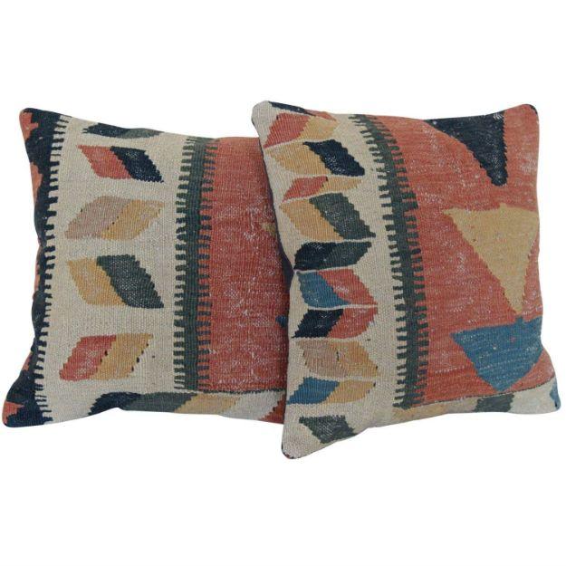 Wool-Bohemian-Kilim-Pillows-A-Pair 1