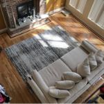 3D Textured Brown Striped Rug