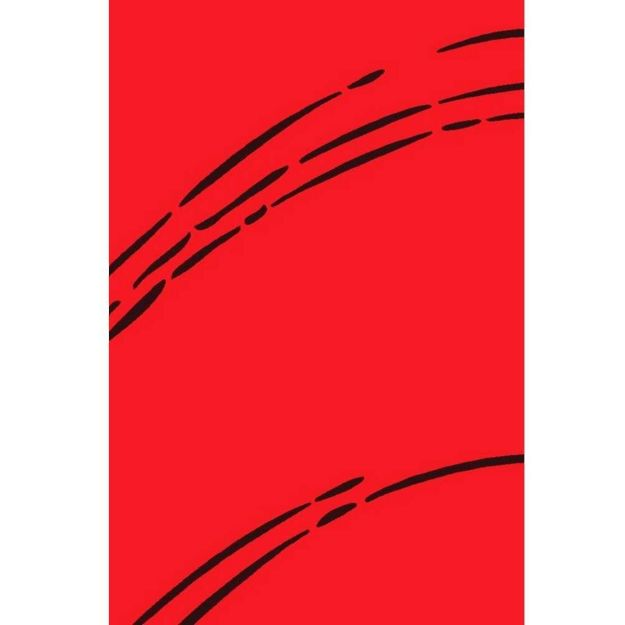 Picture of Solid Red Rug with Black Lines
